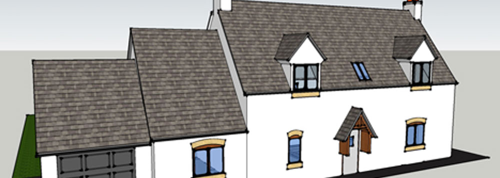 Conceptual 3D Images for a Cottage Extension, Derbyshire